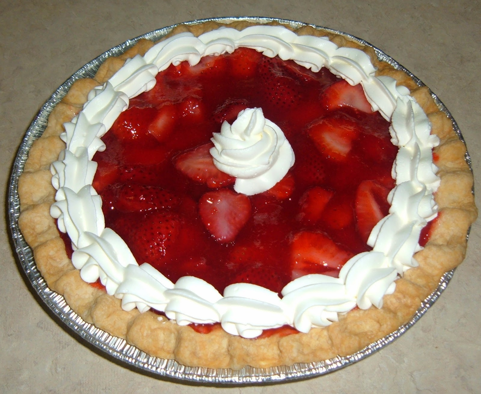 Fresh Strawberry Pie with real whipped cream!