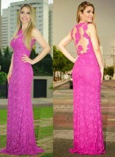 modelo de vestido longo com renda rosa - dicas e fotos