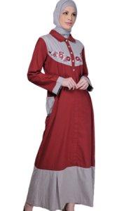 Manet Gamis 3192 - Merah Abu (Toko Jilbab dan Busana Muslimah Terbaru)