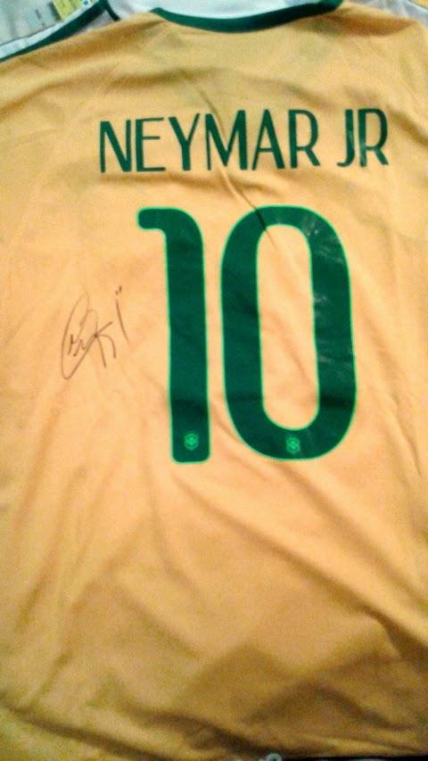 Neymar Signed 2014 Brazil Home Jersey