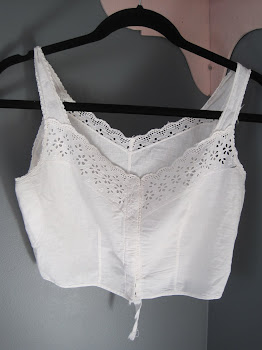 Sweet Vintage Cami with Eyelet Trim and Hooked Closing