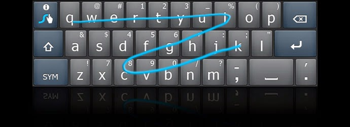 image of keyboard with a blue swipe line through the keys
