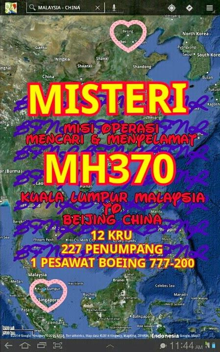 KUALA LUMPUR MALAYSIA TO BEIJING CHINA MH370 NO 1