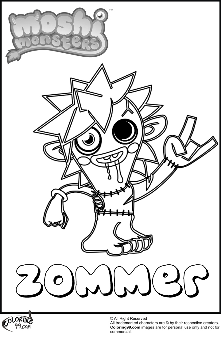 moshi monster zommer coloring pages