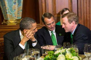   President Barack Obama, Taoiseach Enda Kenny of Ireland, and House Speaker John Boehner, R-Ohio, talk together during a St. Patricks Day lunch at the U.S. Capitol in Washington, D.C., March 19, 2013. (Official White House Photo by Pete Souza)