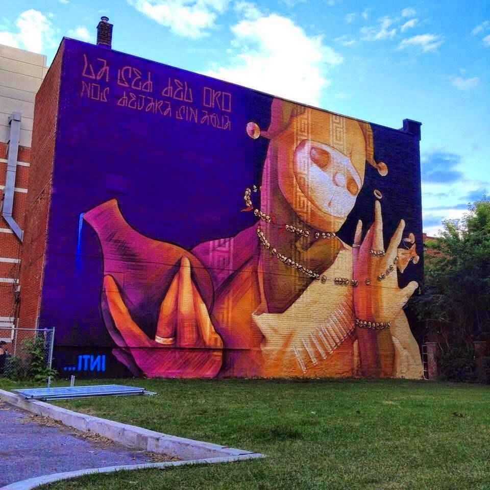 INTI was also invited to paint on the streets of Montreal, Canada for the second edition of the Mural Street Art Festival.