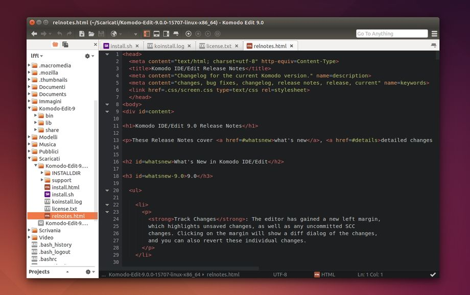 Komodo Edit 9 in Ubuntu
