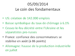 actualités économiques boursières 05/09/2014