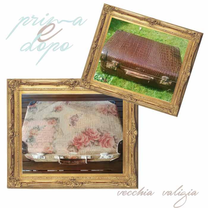 recupero creativo di una vecchia valigia con decoupage floreale