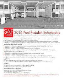 2016 SAF-Paul Rudolph Scholarship