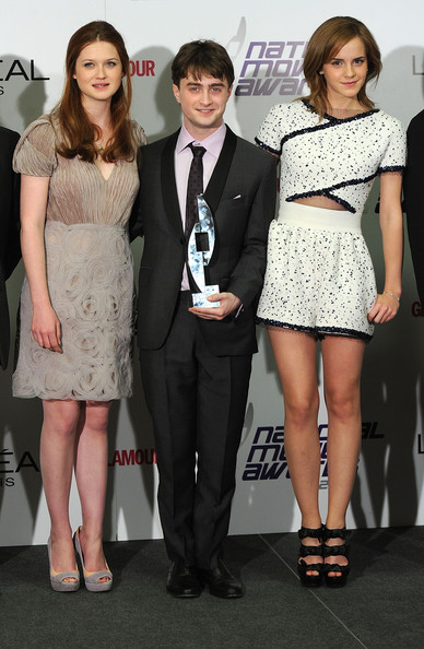 Daniel Redcliffe with Emma Watson and Bonnie Wright