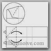 Bước 5: Từ vị trí mũi tên, mở hai lớp giấy ra, kéo và gấp lớp giấy sang phải