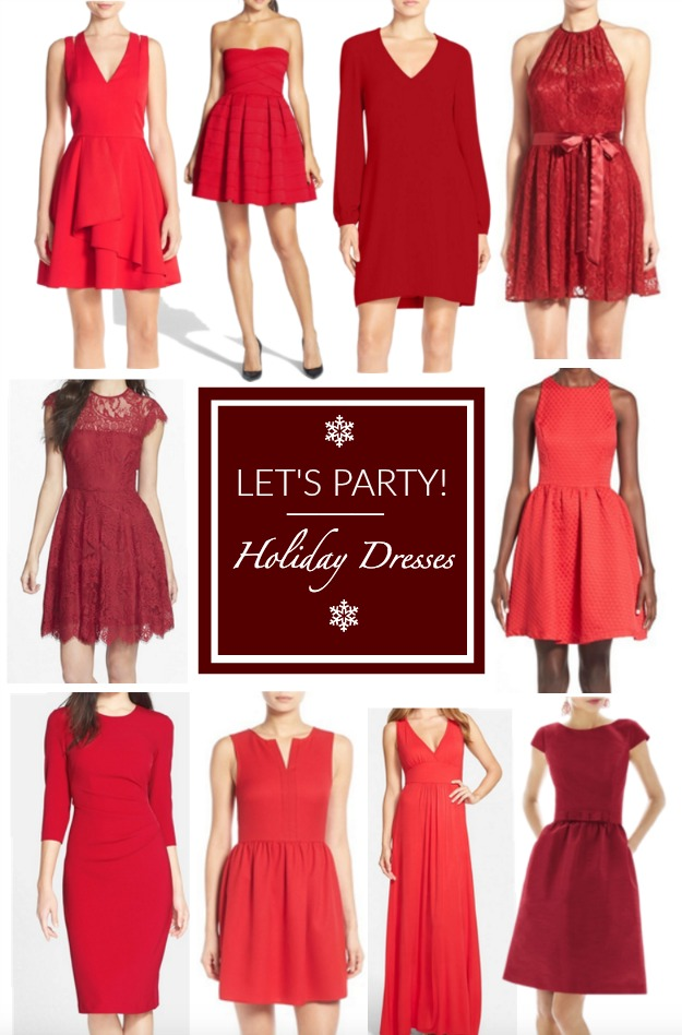 Red holiday-party festive dresses
