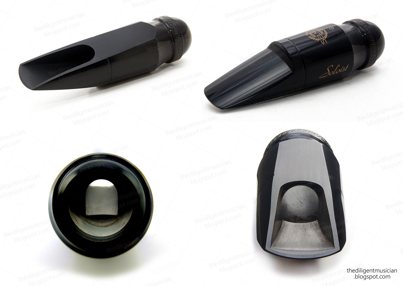 Photo montage of the Selmer Soloist alto saxophone mouthpiece