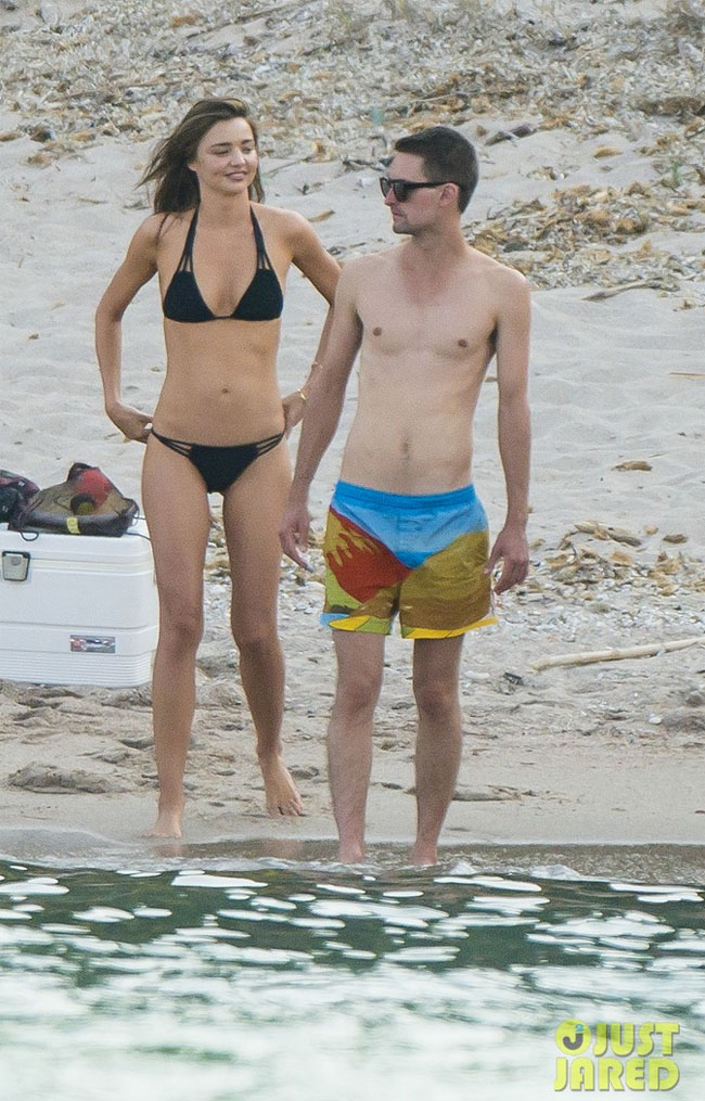 Miranda Kerr in black string Mikoh bikini with boyfriend evan spiegel