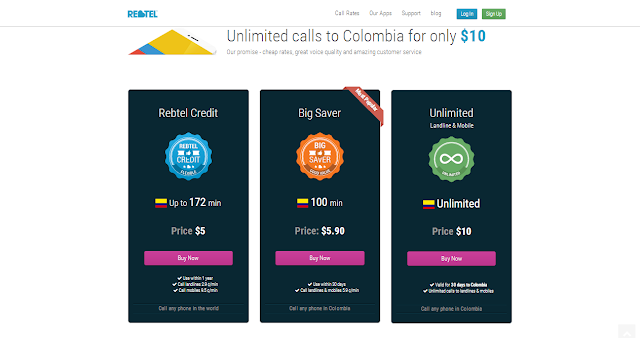 Make unlimited phone calls to Colombia (Columbia) just for $10 a month by Rebtel
