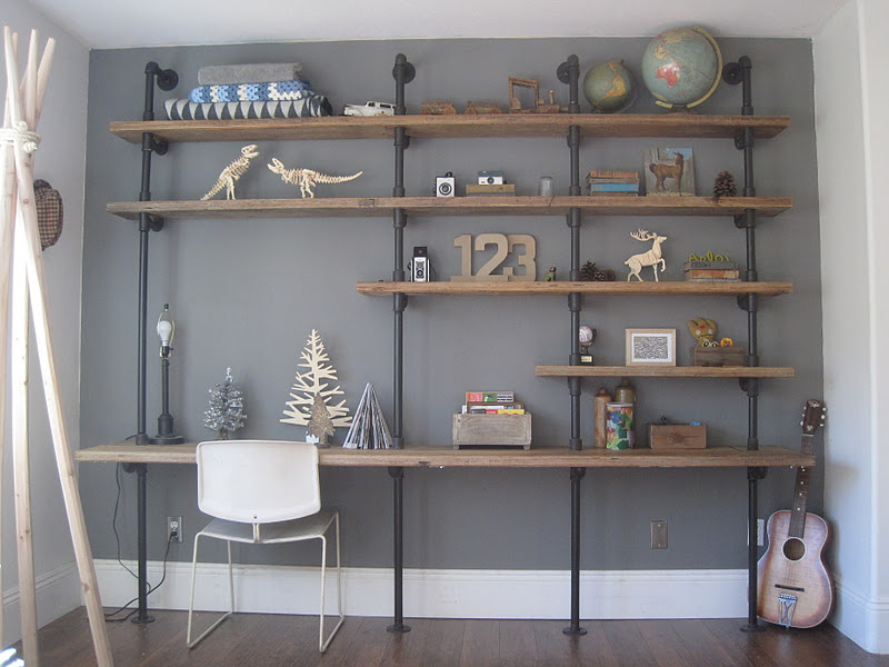 house of habit home works pipe shelf unit in boy 39 s room. Black Bedroom Furniture Sets. Home Design Ideas