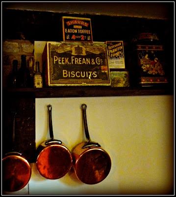 Copper pans and vintage tins, Avebury Manor