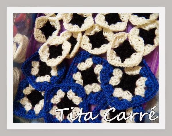 Squares em crochet de vários tamanhos para um Projeto