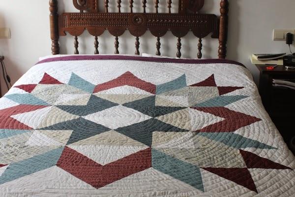 diseño de patchwork, estrella que irradia