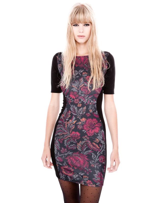 çiçek desenli blok renk kısa dar elbise