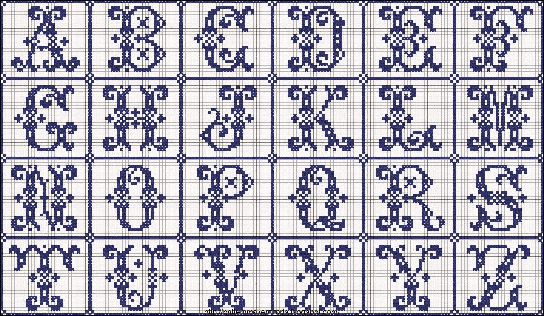 Hobby lavori femminili ricamo uncinetto maglia for Schemi punto a croce alfabeto