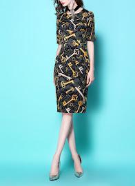 2017 Short Sleeve Elegant Gold Key Print OL Black Dress