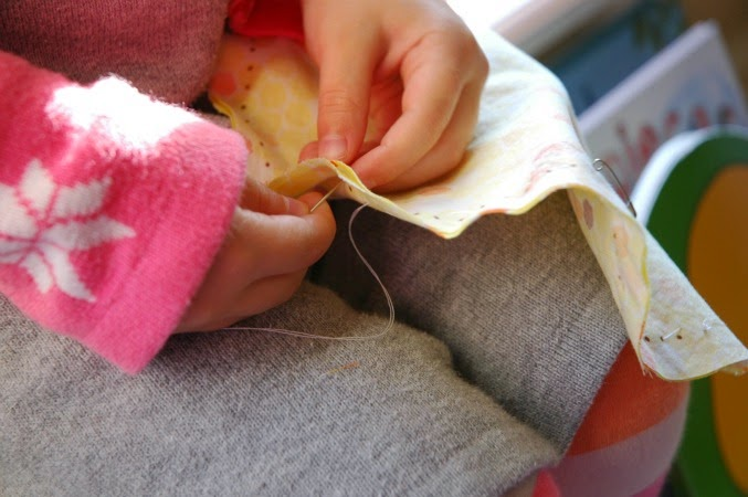 child sewing project