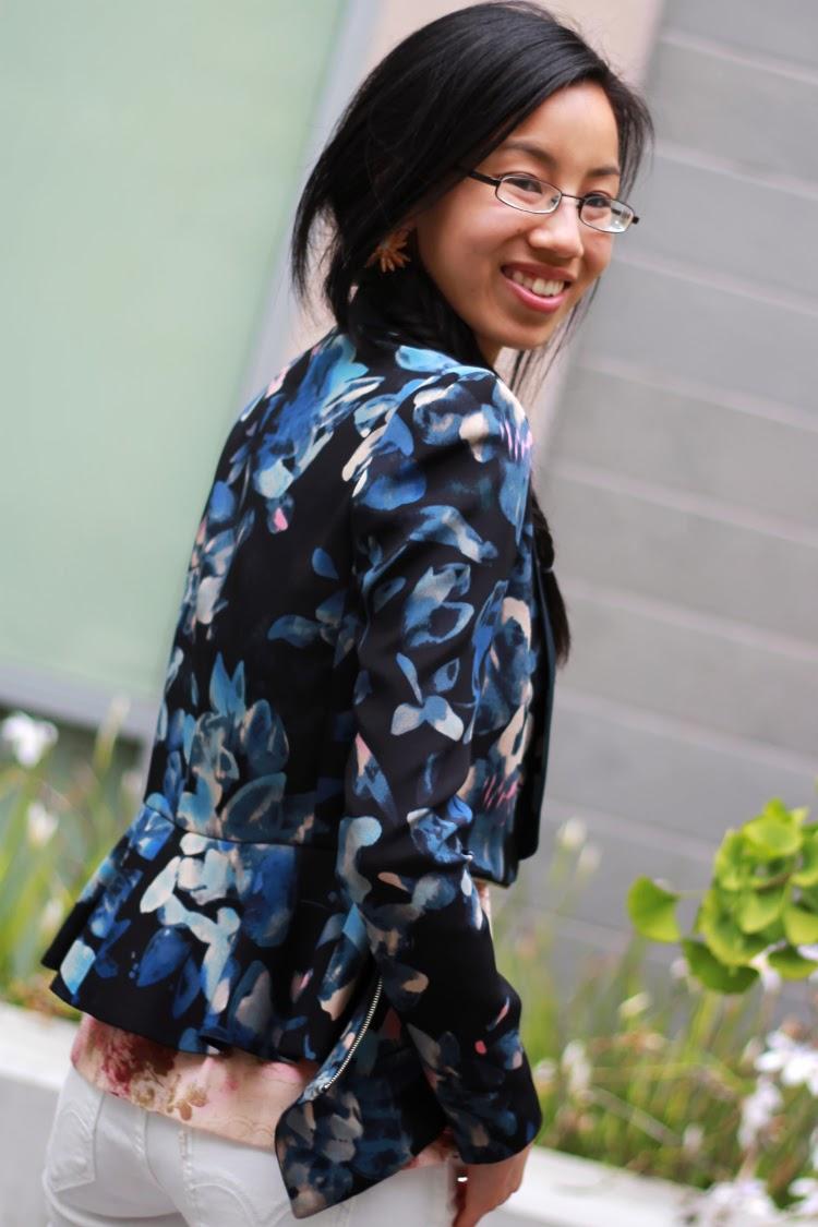 rebecca taylor zip jacket blazer floral