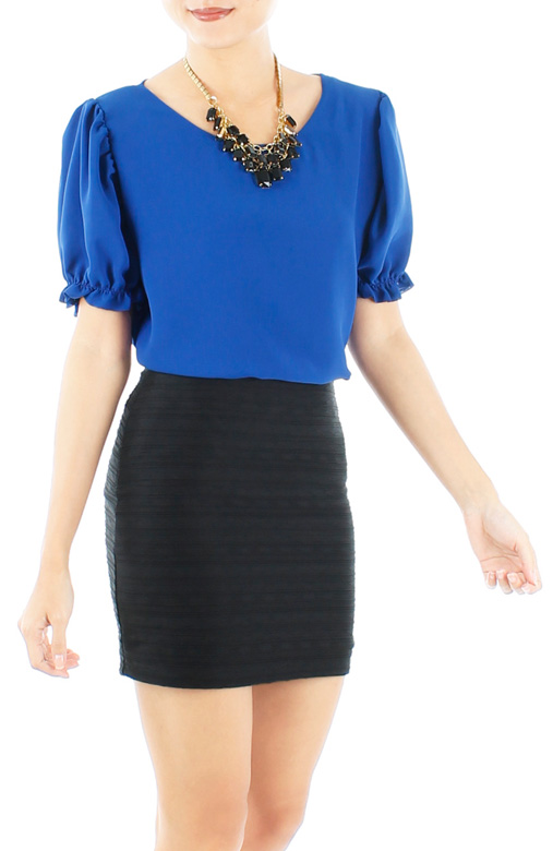 Cobalt Blue Flower Buds Puff Sleeve Blouse