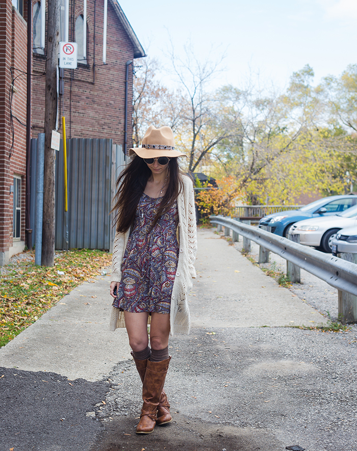 Paisley-dress-cardigan-fedora-womens-fashion-blog