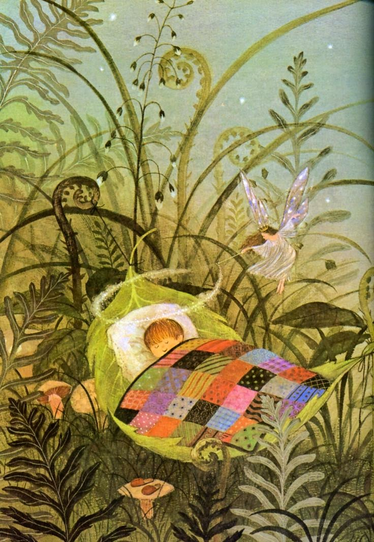 illustration by Gyo Fujikawa of a baby asleep dreaming in a garden