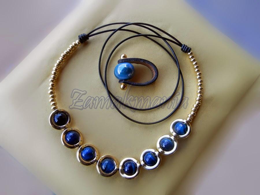conjunto collar zamak-piedras naturales anillo cuero-ceramica
