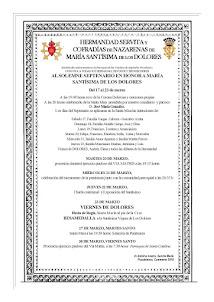 Cultos en honor a M. Stma. de Los Dolores