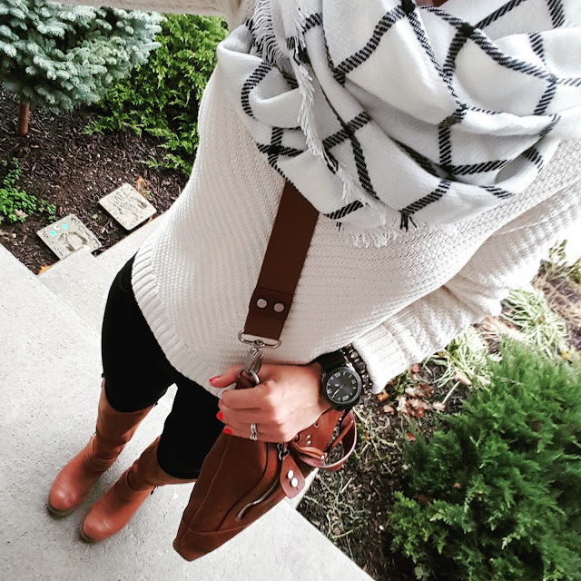 Banana Republic Factory Sweater (similar) // Ellington Handbag (similar) // 7 For All Mankind Jeans - major sale! // Jessica Simpson Boots - on sale for $65, regular $159! // Merona Scarf - on sale for $12! // Target Men's Watch (similar)