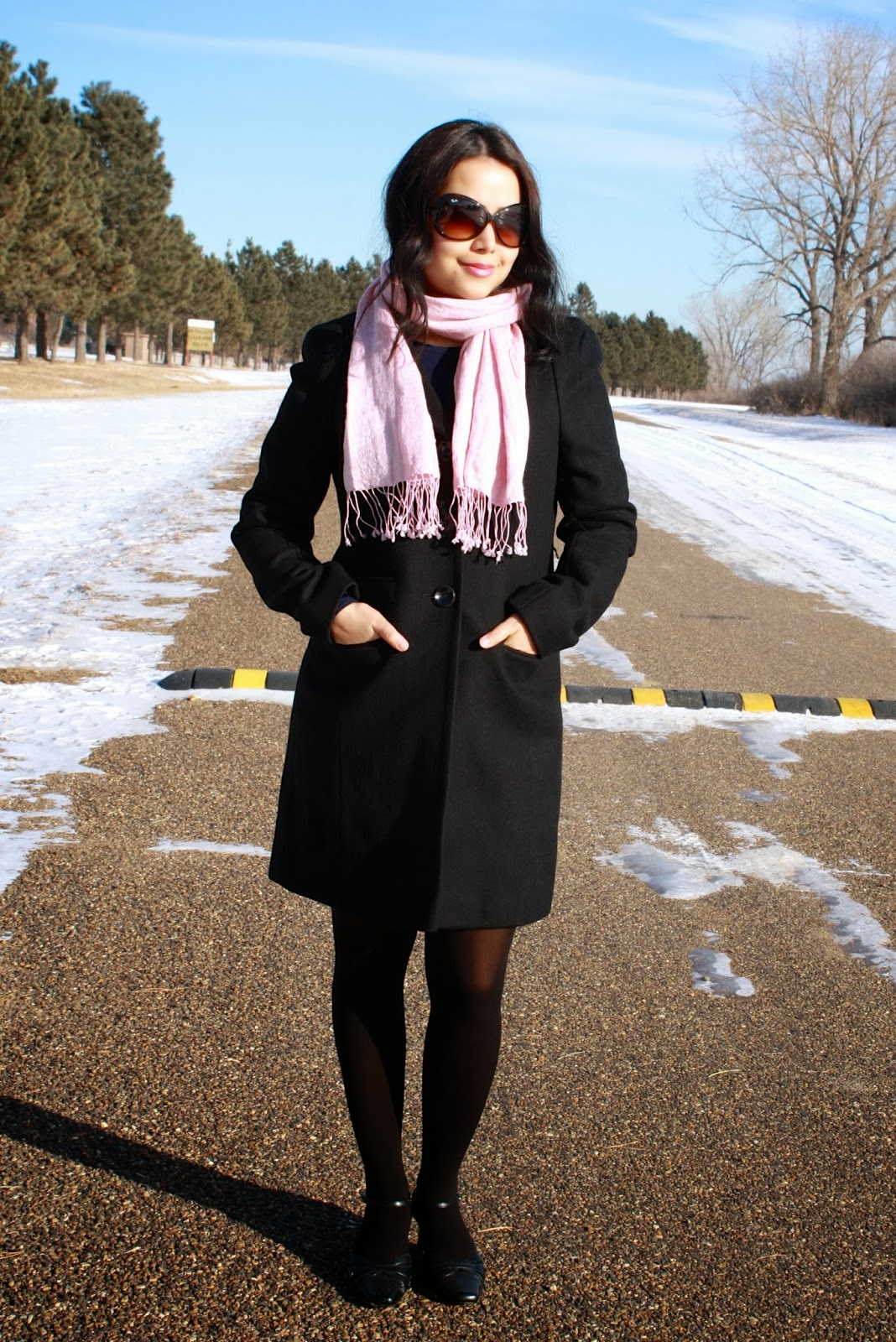 Cactus and Cucumber : Black coat and pink scarf ..