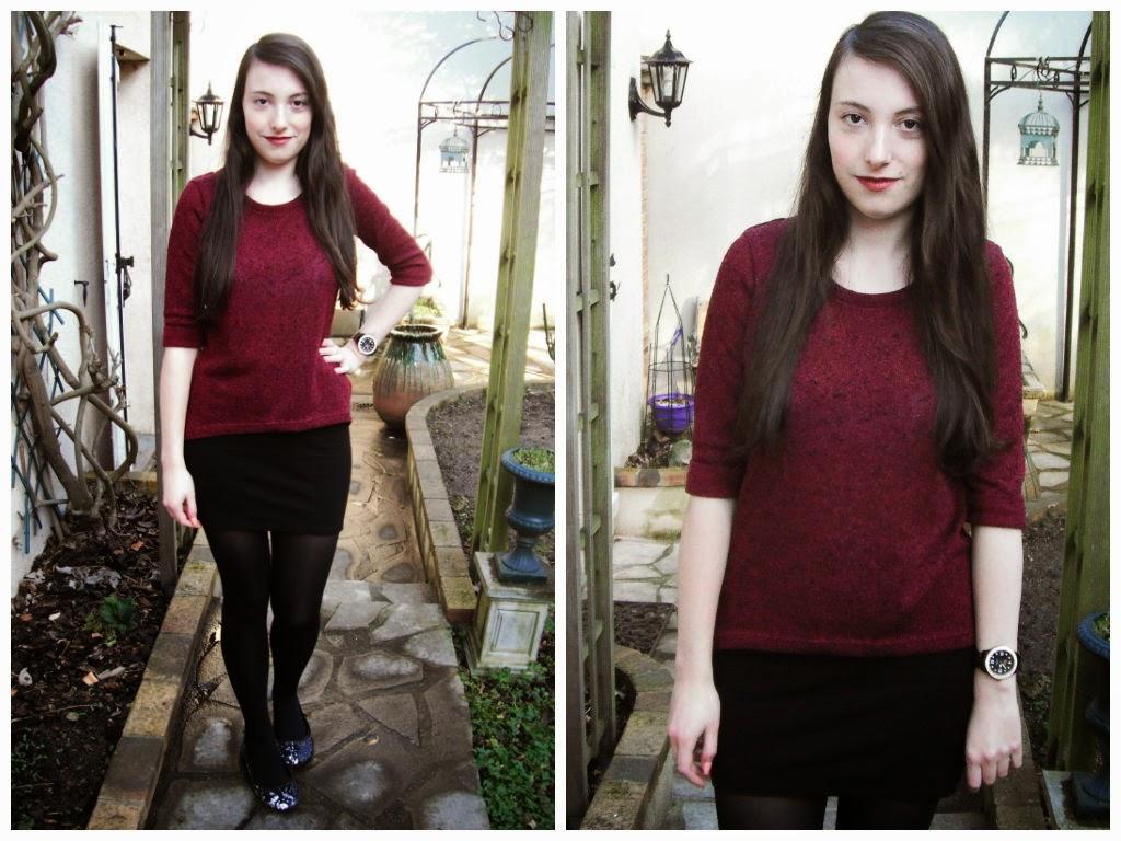Lookbook hiver 2015 tenue 1 : pull bordeaux jupe tube