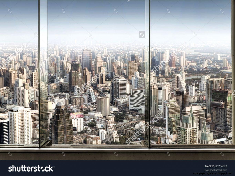 Panoramic View Of Window And Nice Big City Stock Photo 86704693