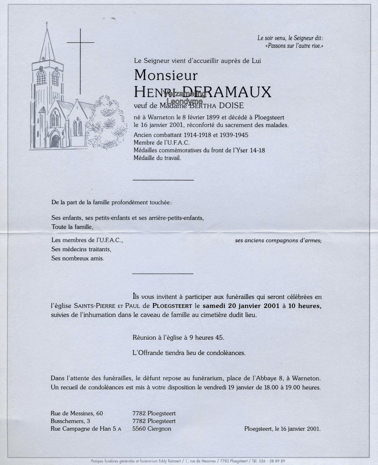 Rouwbrief Henri Deramaux 1899-2001. Verzameling Leondyme