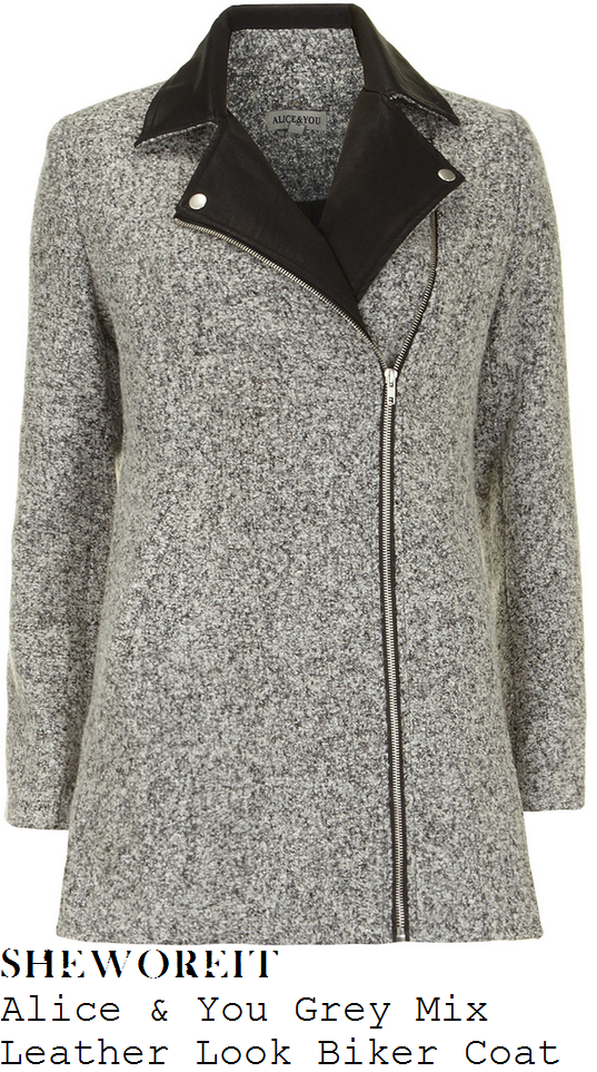 michelle-keegan-heather-grey-speckled-black-leather-lapel-detail-biker-coat