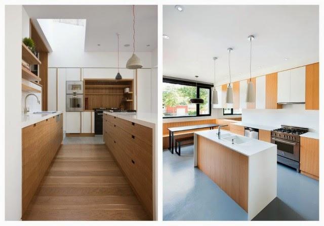 Marzua formas de aplicar la madera en la cocina for Cocina blanca y madera
