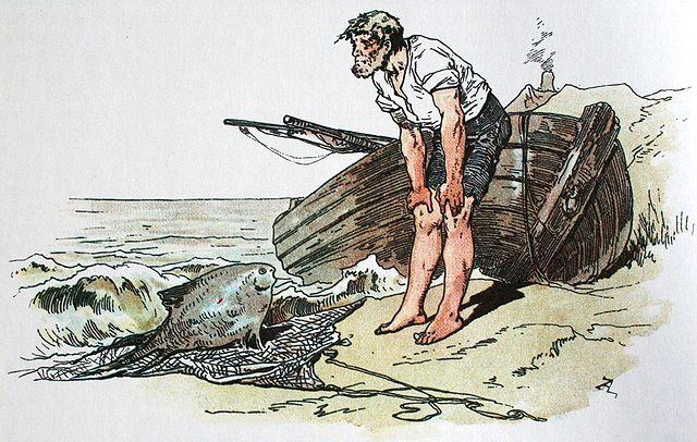 Vom Fischer und seiner Frau; Darstellung von Alexander Zick (1845 - 1907)