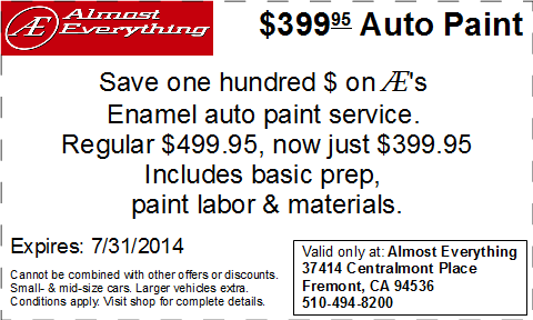 Coupon Almost Everything $399.95 Auto Paint Sale July 2014