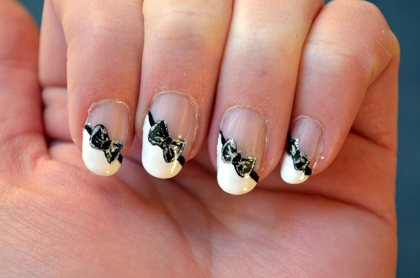 The Nail Diaries: Angled French Tip with a Black Bow - Wedding Mani!!