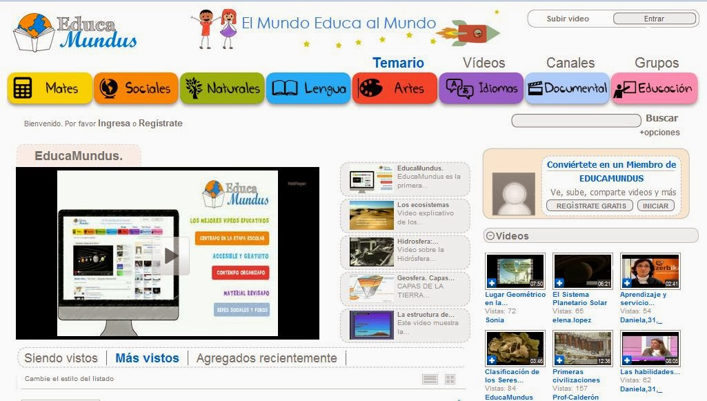 Plataforma colaborativa de videos educativos: EducaMundus