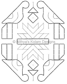 5 Parrot Kolam 16 by 8 dots