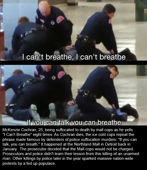 "Video of McKenzie Cochran, 25 being suffocated to death by mall cops as he yells ""I Can't Breathe"" eight times."