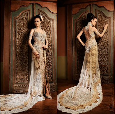 Happy day with a touch of modern wedding dress kebaya for Elle king wedding dress designer