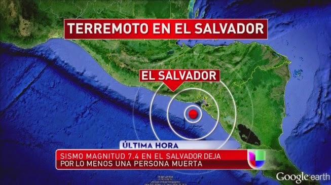 TERREMOTO 7,4 GRADOS EN COSTA DE EL SALVADOR, 14 DE OCTUBRE 2014