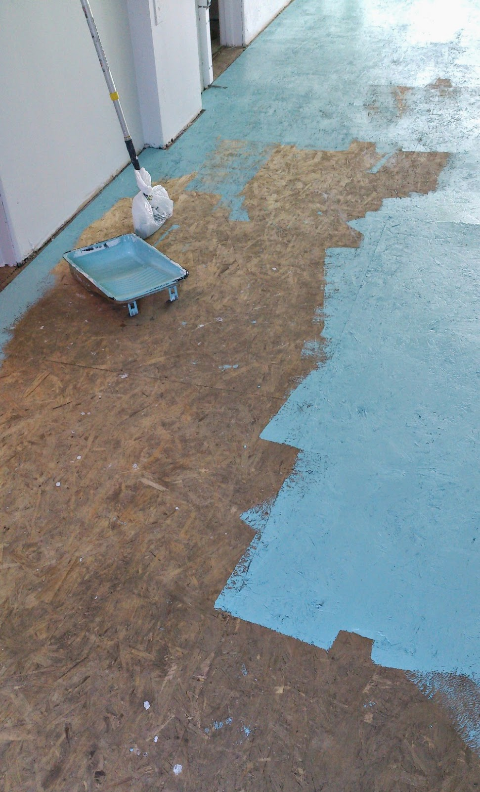 Diy painted particle board floor mmmm teal dans le for 1 2 3 4 all the ladies on the floor